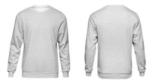 Blank Template Mens Grey Sweatshirt Long Sleeve, Front And Back View, Isolated On White Background. Design Gray Pullover Mockup For Print