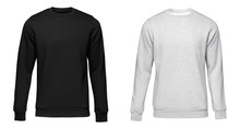 Blank Template Mens Grey And Black Pullover Long Sleeve, Front And Back View, Isolated On White Background. Design Sweatshirt Mockup For Print