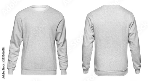 фотография Blank template mens grey sweatshirt long sleeve, front and back view, isolated on white background with clipping path