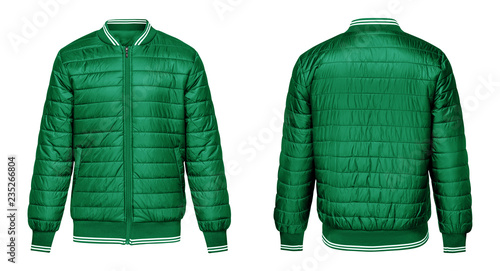 Foto Blank template green jacket bomber with white stripe, front and back view isolated on white background
