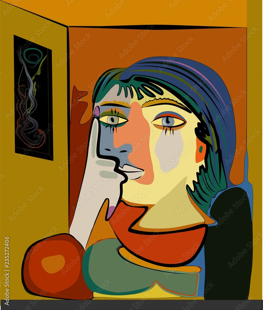 Colorful abstract background, cubism art style, thinking woman