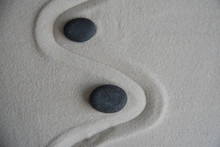Gray Zen Stones On The Sand Wi...