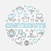 Contribute Round Vector Concept Illustration In Thin Line Style On White Background