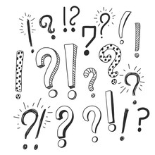 Question And Exclamation Signs Hand Drawn Doodle, Simple Cartoon Sketch Isolated On White Background. Vector Typography Illustration.