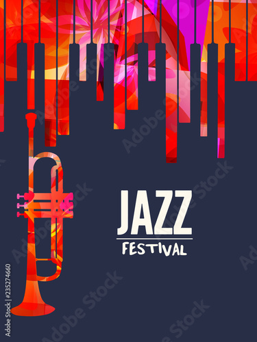 Photo Jazz music festival poster with piano keyboard and trumpet vector illustration design