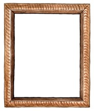 Watercolor Rectangular Brown Wood Carved Picture Frame - Hand Painted Illustration Isolated On White Background