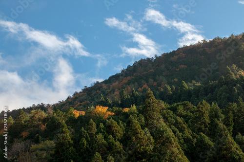 京都ぶらり、鞍馬あたりの山の端に夕日のさして