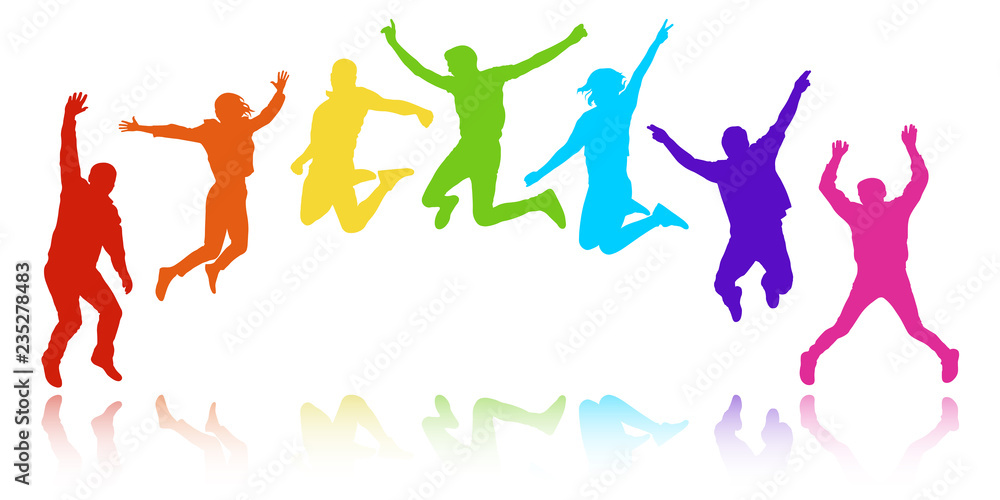 Fototapeta People in a jump, youth celebrating. Cheerful group of people, semicircle in the form of a rainbow. Colorful vector silhouette