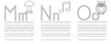 Writing Practice Of Letters M,N,O. Coloring Book. Education For Children. Vector Illustration
