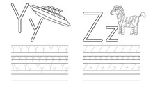 Writing Practice Of Letters Y,Z. Coloring Book. Education For Children. Vector Illustration