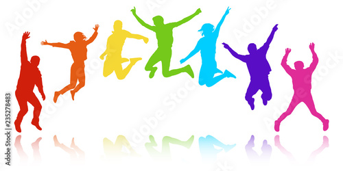 Fototapeta People in a jump, youth celebrating. Cheerful group of people, semicircle in the form of a rainbow. Colorful vector silhouette obraz
