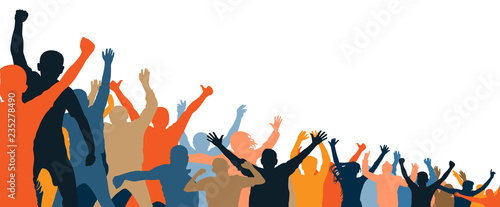 Cheerful people crowd applauding, silhouette Canvas Print