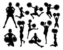 Detailed Silhouette Cheerleaders With Pom Poms