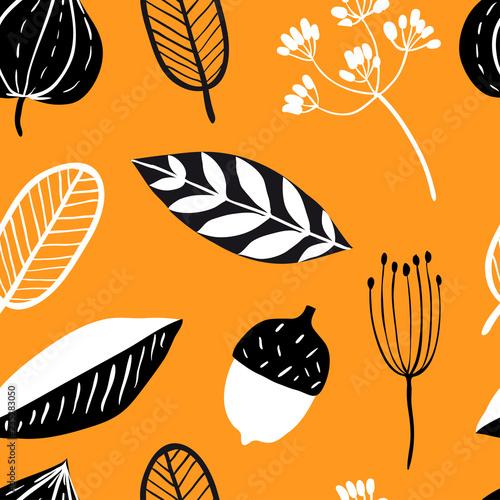 Fototapeta Vector seamless pattern with doodle leaves obraz na płótnie