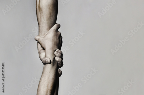 Photo Helping hand concept and international day of peace, support