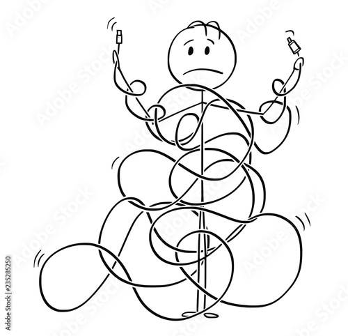 Fotografie, Obraz Cartoon stick drawing conceptual illustration of man or technician tangled in cord, line or cable