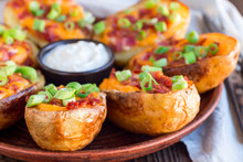 Baked Loaded Potato Skins With...