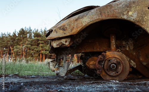 Printed kitchen splashbacks burnt car in the forest. Сгоревшая машина в польском лесу