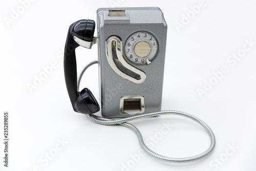 Photo  Antiguo teléfono de monedas de los años 60 en España