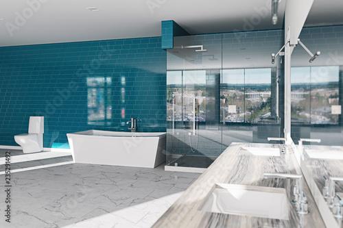Spa, hotel bathroom concept. Modern architecture interior design, 3d ...