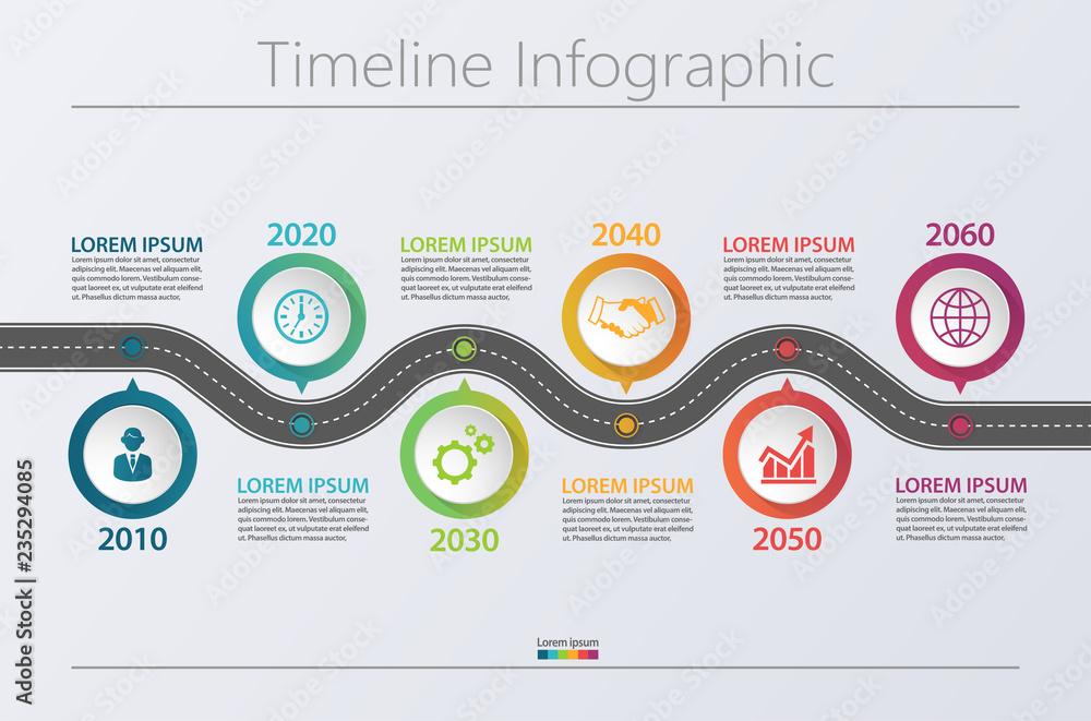 Fototapeta Business road map timeline infographic icons designed for abstract background template milestone element modern diagram process technology digital marketing data presentation chart Vector illustration
