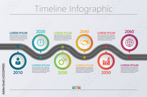 Fototapeta Business road map timeline infographic icons designed for abstract background template milestone element modern diagram process technology digital marketing data presentation chart Vector illustration obraz