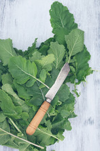 Knife On Green Leaves Of Plant