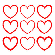 Vector Romantic Frames With Inky Texture For Valentine Day Design