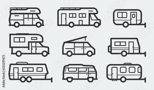 Fototapeta Recreational vehicles camper vans icons