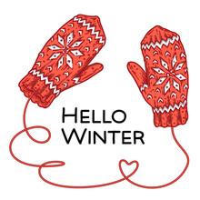 Hello Winter Hand-drawn Mittens