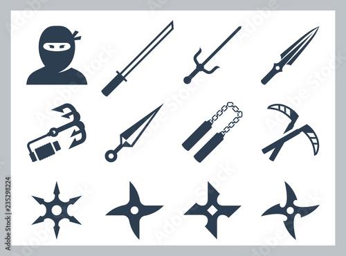 Ninja and ninja weapons vector icon set Fototapeta