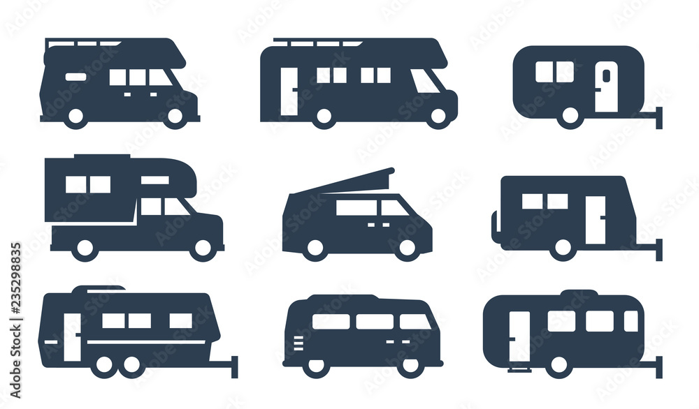 Fototapety, obrazy: RV cars, recreational vehicles, camper vans icons