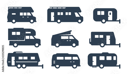 Fototapeta RV cars, recreational vehicles, camper vans icons