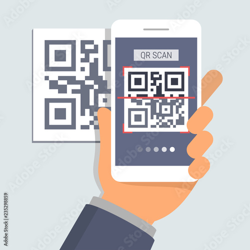 Valokuva  Hand holding phone with app for scanning QR code, flat design illustration