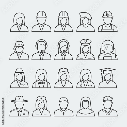 Obraz na plátně People professions and occupations icon set in thin line style #2