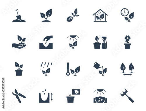 Fotografia Vector plant growing and cultivating icon set