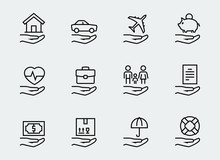 Insurance Related Icon Set In ...