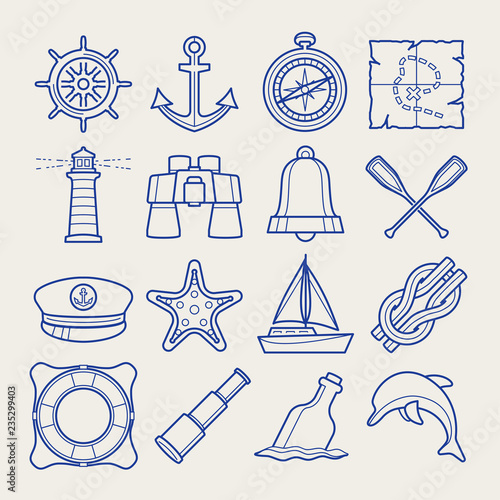 Marine icon set in thin line style Poster Mural XXL
