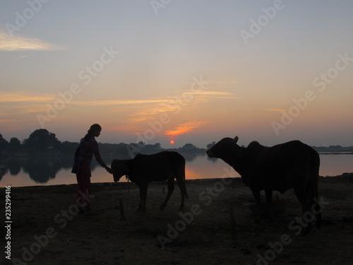 Spoed Foto op Canvas Coucher de soleil inde rajasthan