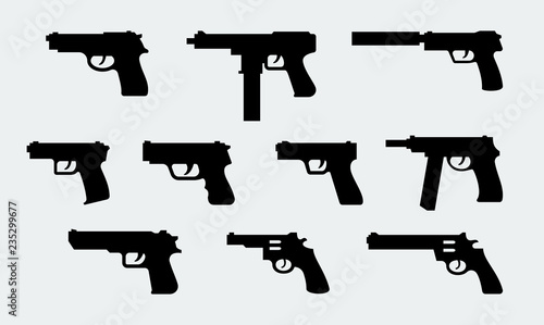 Fotografiet  Vector set of silhouettes of modern pistols