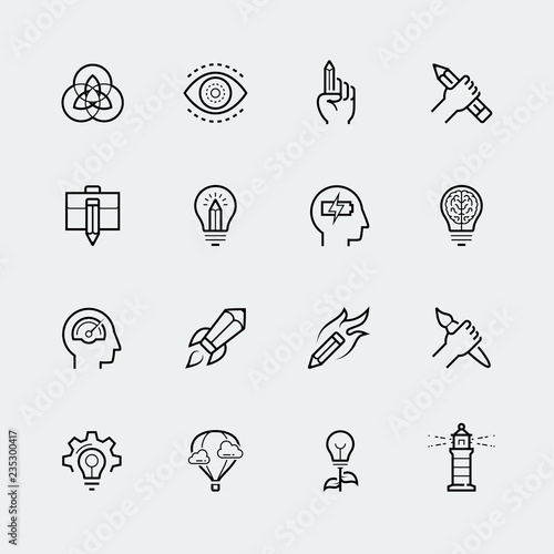 Pinturas sobre lienzo  Creativity and graphic design vector icon set in thin line style