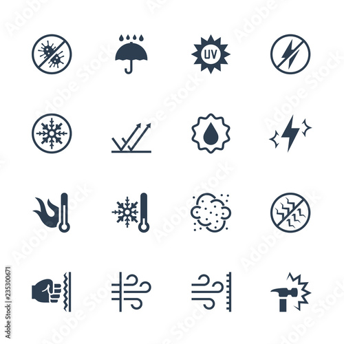 Fototapeta Vector icons set of external influence and protection from it