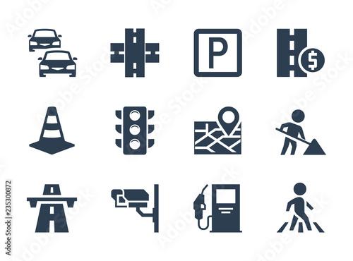 Vector road traffic related icon set Slika na platnu