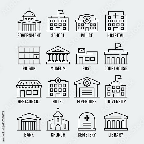 Government buildings vector icon set in thin line style Fototapeta