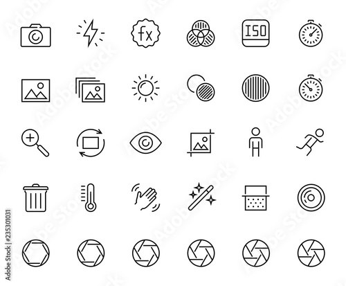 Obraz Photography and digital camera related vector icon set in thin line style - fototapety do salonu