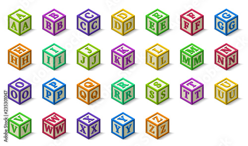 Photo Multicolored alphabet or abc blocks in isometric style, from A to Z