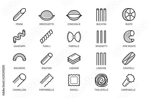 Fotografia, Obraz Pasta vector icon set in thin line style
