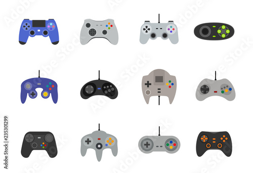Cuadros en Lienzo Gamepads vector icon set in flat style