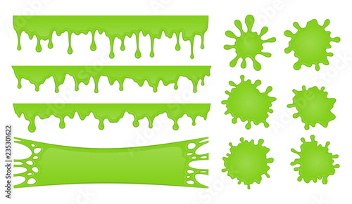 Fotomural Vector set of slime drops and splash stains