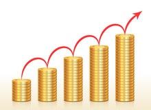 Columns Of Coins And Red Arrow Above Them, Growing Bar Graph Concept